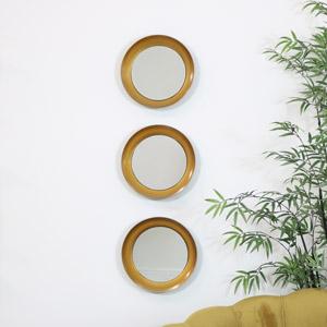 Set of 3 Black & Gold Round Concave Mirrors 30cm x 30cm