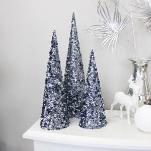 Set of 3 Black Sequin Christmas Cones