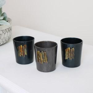 Set of 3 Blue & Grey Tealight Holders