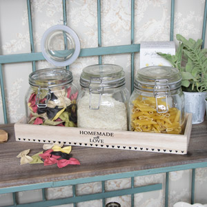 Set of 3 Glass Storage Jars in Wooden Tray