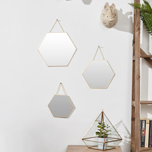Set Of 3 Gold Framed Hexagon Wall Mirrors