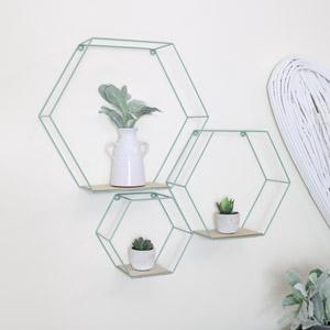 Set of 3 Green Hexagon Shelves