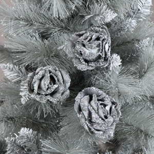 Set of 3 Grey Velvet Rose Tree Decorations