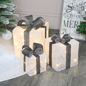 Set Of 3 Grey & White LED Christmas Gifts