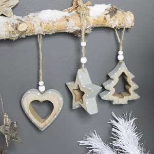 Set of 3 Grey Wooden Christmas Shape Baubles