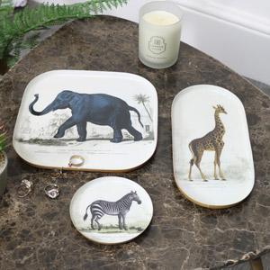 Set of 3 Metal Safari Animal Trays