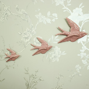 Set of 3 Pink Flying Birds Wall Art Decoration