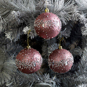 Set of 3 Pink Glitter Jewelled Christmas Baubles