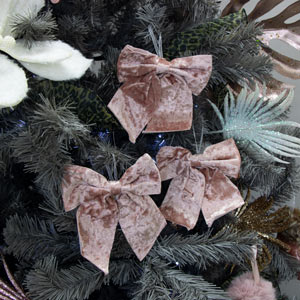 Set Of 3 Pink Velvet Bows