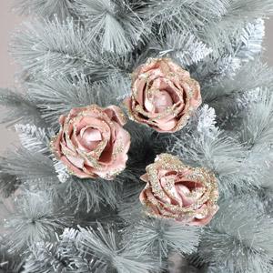 Set of 3 Pink Velvet Rose Tree Decorations