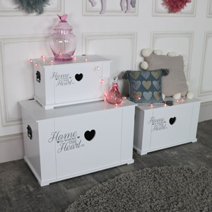 Set of 3 Pretty White Heart Storage Trunks
