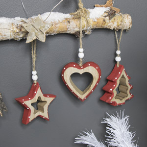 Set of 3 Red Wooden Christmas Tree Decorations