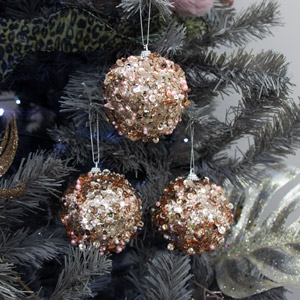 Set Of 3 Rose Pearl Sequin Baubles