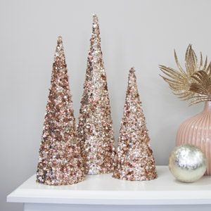 Set of 3 Rose Pink Sequin Christmas Cones