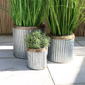 Set of 3 Round Grey Metal Planters