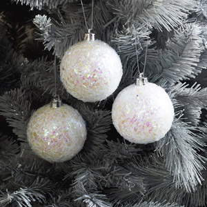 Set of 3 Round Iridescent Christmas Tree Baubles
