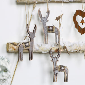 Set of 3 Rustic Wooden Reindeer Tree Ornaments
