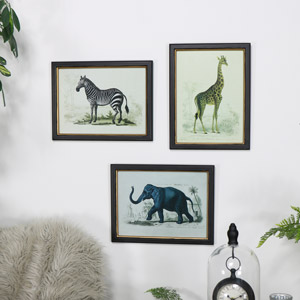 Set of 3 Safari Animal Wall Prints