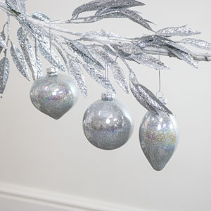 Set Of 3 Silver Glitter Baubles