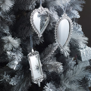 Set of 3 Silver Mirrored Christmas Decorations
