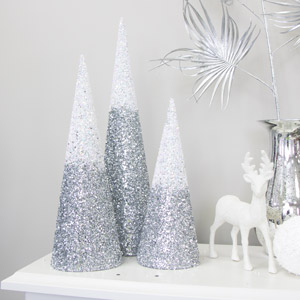 Set of 3 Silver Ombre Cone Christmas Trees
