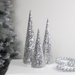 Set of 3 Silver Sequin Christmas Cones