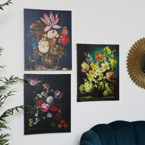Set of 3 Vintage Dutch Fine Art Floral Canvas Prints