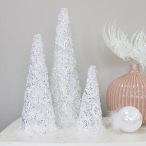 Set of 3 White Fur Sequin Christmas Cones