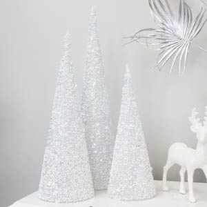 Set of 3 White Sequin Cone Christmas Trees