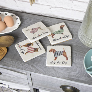 Set of 4 Ceramic Dog Coasters