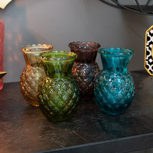Set of 4 Colourful Glass Pineapple Vases