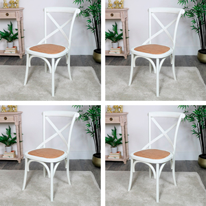 Set of 4 Cream Wooden Rattan Dining Chairs