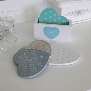 Set of 4 Love Heart Coasters in Stand