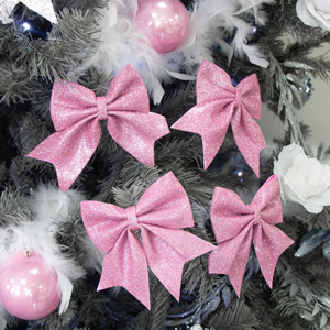 Set of 4 pink glitter bows - Christmas Tree Decoration