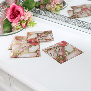 Set of 4 Pink & Gold Marble Glass Coasters