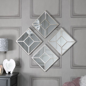 Set of 4 Square Paneled Wall Mirrors