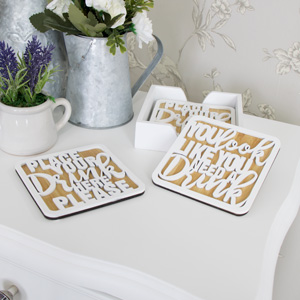 Set of 4 White Wooden 'Drink' Coasters