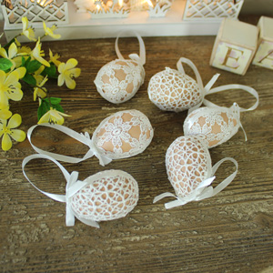 Set of 6 Decorative Crochet Covered Easter Eggs