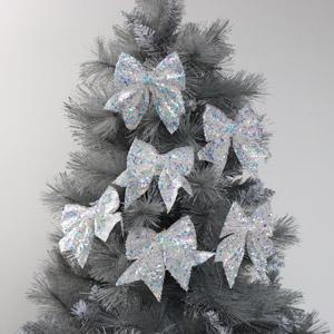Set of 6 Iridescent White Christmas Tree Bows
