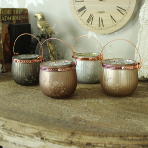 Set of Four Copper Tealight Holders