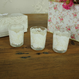 Set of Three White Votive Candles in Gift Box