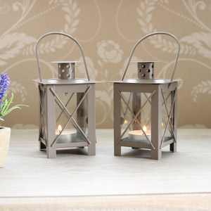 Set Of Two Grey Chimney Lanterns