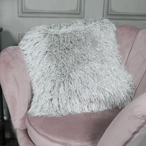 Shaggy Grey Glittery Scatter Cushion