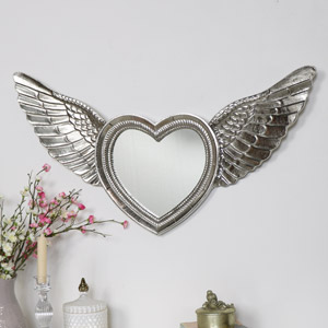 Silver Angel Wing Wall Mirror
