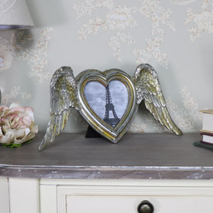 Silver Angel Wings Heart Photo Frame