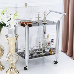 Silver & Black Glass Drinks Trolley
