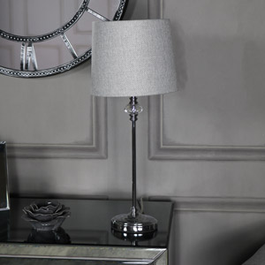 Silver Chrome Table Lamp with Tweed Shade