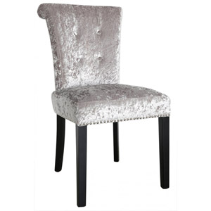 Silver Crushed Velvet Upholstered Dining Chair