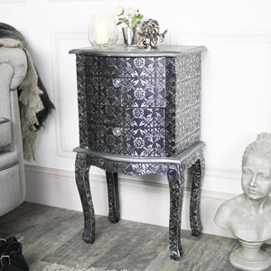 Silver Embossed 2 Drawer Bedside Lamp Table - Monique Range