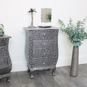 Silver Embossed 4 Drawer Bedside Table - Monique Range
